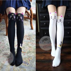 9c9123be46e Japan Women Cute Cartoon Sailor Moon Mock Knee High Luna Pantyhose ...