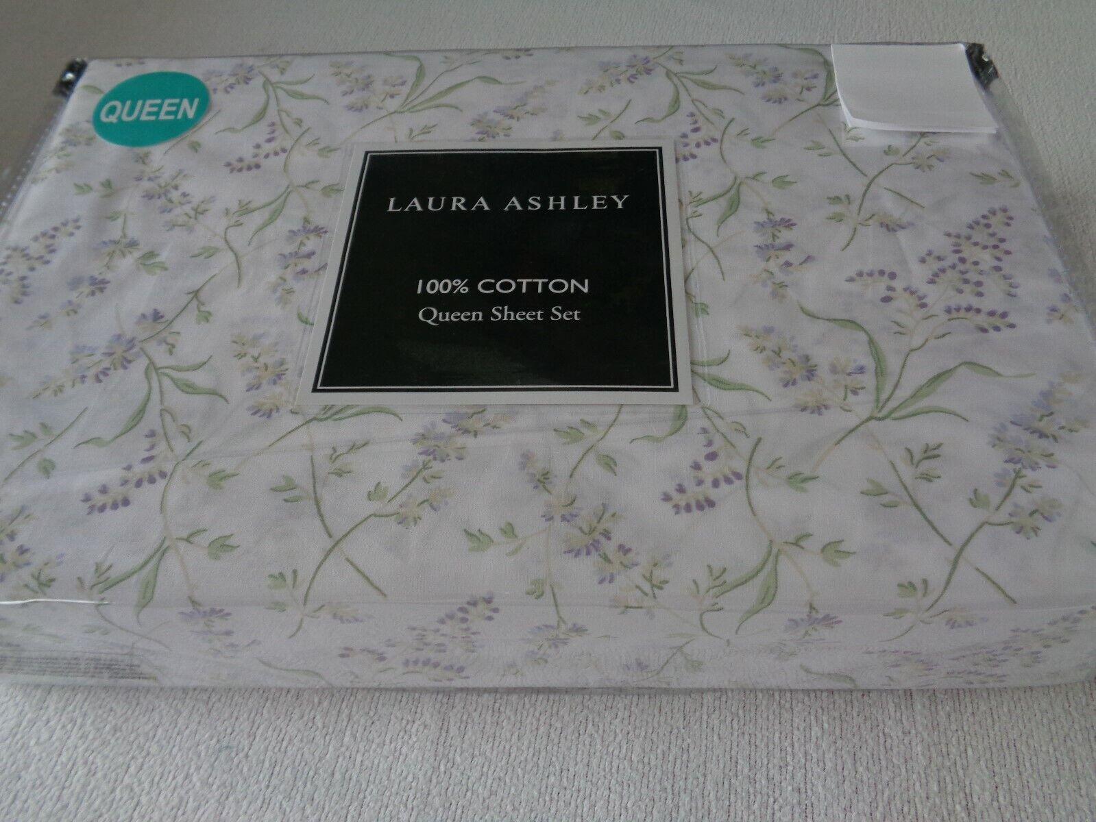 New Laura Ashley WHEATON BREEZE Queen sheet set Lavender floral