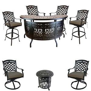 Terrific Details About 8 Piece Patio Cast Aluminum Party Bar And Swivel Bistro Set With Sunbrella Seats Caraccident5 Cool Chair Designs And Ideas Caraccident5Info