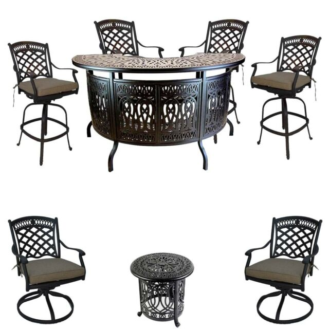 Outstanding 8 Piece Patio Cast Aluminum Party Bar And Swivel Bistro Set With Sunbrella Seats Ibusinesslaw Wood Chair Design Ideas Ibusinesslaworg