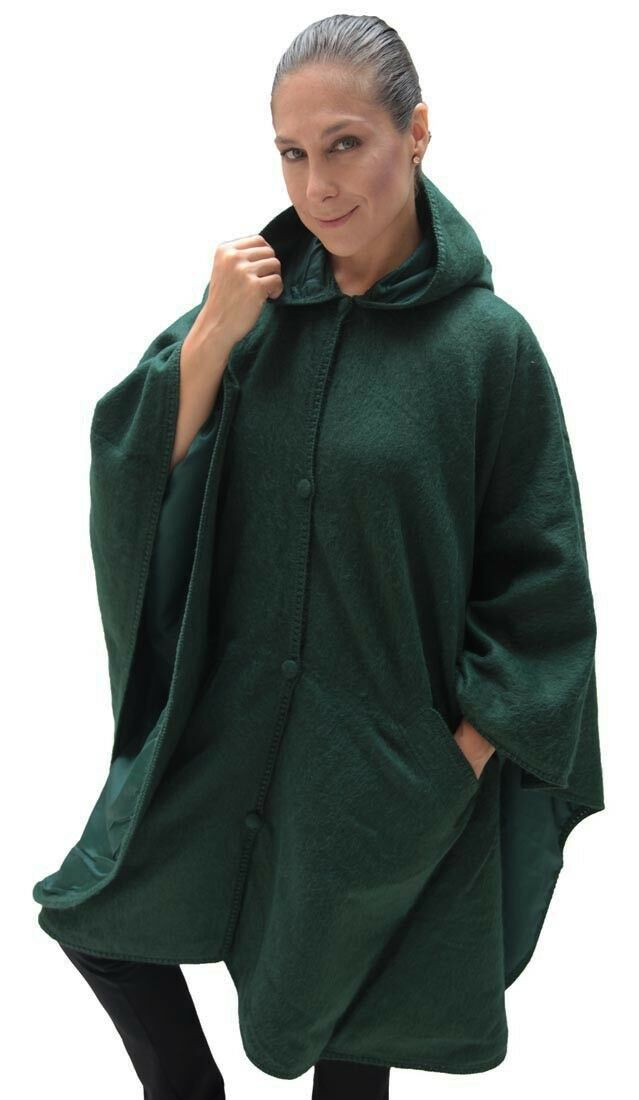 Hooded Alpaca Wool Cape Lined Hood Poncho, Forest Green