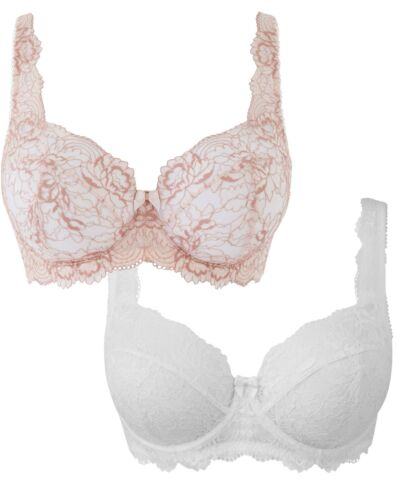Womens Pretty Secrets Two Pack Ella Full Cup Bras Simply Be