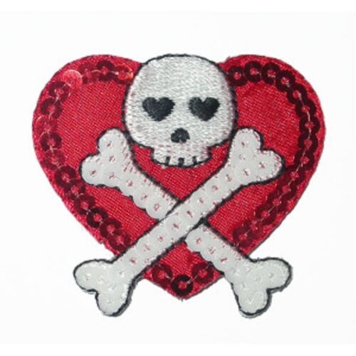 Bordado En Rojo /& sequinned Corazón Con Calavera Y Huesos Cruzados Hierro en apliques X 1