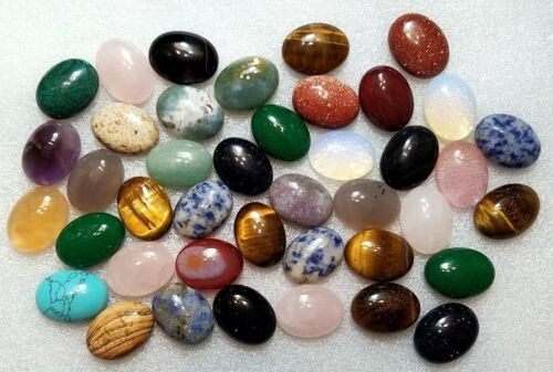 Cabochon Mixed Gemstones 30mm x 20mm Jewelry Pendant Making Wire Wrapping Cabs