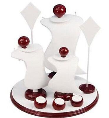 White 9PC Combo Jewelry Counter Top Jewelry Display Set