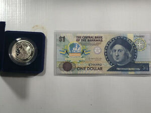 Central-Bank-of-the-Bahamas-One-Dollar-Note-Portrait-of-Columbus-amp-5-Mint-Coin