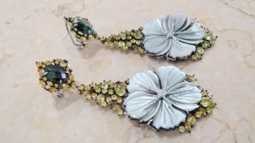 Details about  /925 Sterling Silver Natural Rubilite /& MOP hand made Earrings Designer