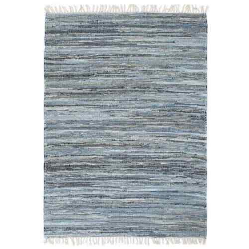 vidaXL Teppich Chindi Denim 160x230cm Blau Flickenteppich Handwebteppich
