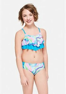 37e39afed4759 Details about Justice Girl's Size 12 Marble Flounce Bikini Swim Suit  Bathing Suit New with Tag