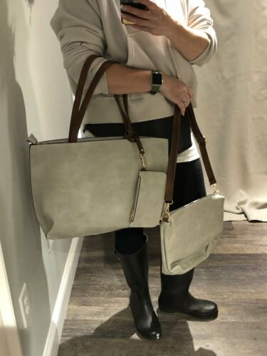 Details about  /Vegan 3 Bags in 1 Large Tote