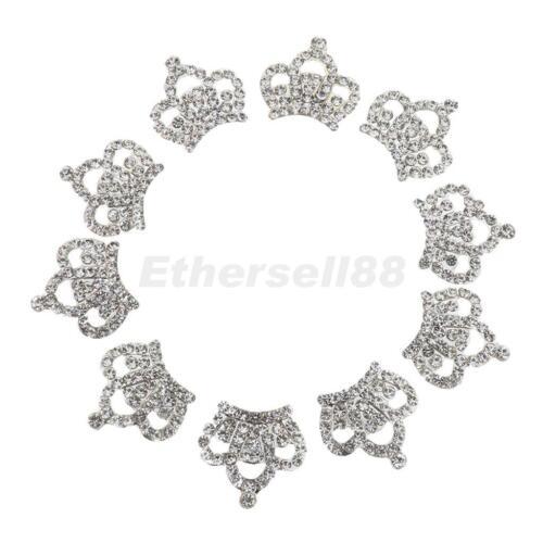 plata metal estrás Corona Flatback HAZLO TÚ MISMA Decoración para Boda Bling Kits 10 un