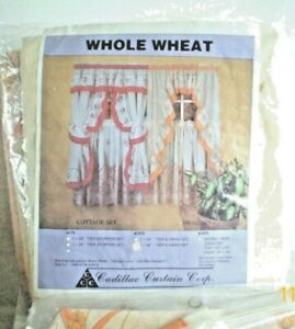Cadillac-Curtain-Corp-36-034-Tier-amp-Swag-set-Whole-Wheat