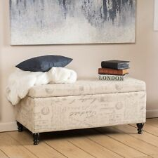 Kingsbury Fabric Storage Ottoman Bench with French Script