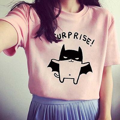 Women's Bat Printed Loose Summer T-Shirt Short Sleeve Blouse Tops Tee Popular