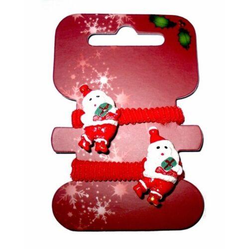 CHRISTMAS HAIR PAIR SLEEPIES OR PAIR PONIOS OR BOBBLE XMAS REINDEER SANTA HOLLY