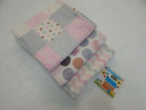 Burp Cloths Jungle Print Chevron on Pink 3 Toweling Backed GREAT GIFT IDEA!!