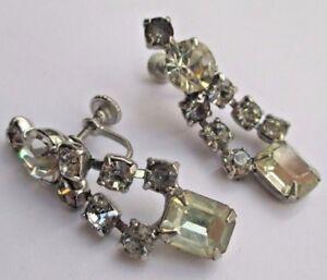 Boucles D'oreilles à Vis Vintage Pendantes Cristaux Diamant Couleur Argent 2800