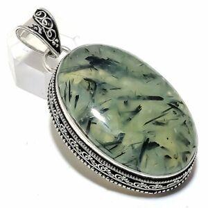 925 Silver Pendant Moss Prehnite Gemstone