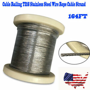 164Ft-1-8-034-T316-Stainless-Steel-Aircraft-Wire-Rope-Deck-Cable-Railing-Kit-7x7-US