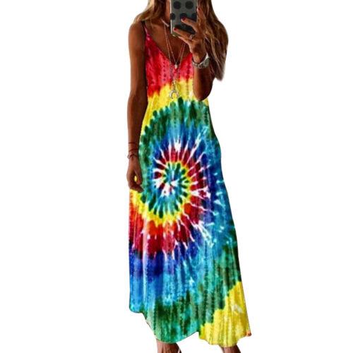 Womens Sleeveless Strappy Bohemia Beach Dress Summer Holiday Maxi Sun Dresses