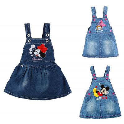 Hot Toddler Baby Girls Cartoon Mickey Minnie Denim Jumpsuit Overalls Dress 0-4Y