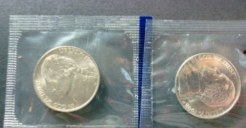 TWO NEW BRILLIANT UNCIRCULATED MINT SEALED JEFFERSON NICKELS 1998-P+D