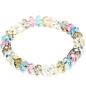 Damen-Kristall-Faceted-Loose-beads-Armband-Stretch-Bangle-Schmuck-Geschenk-Neu