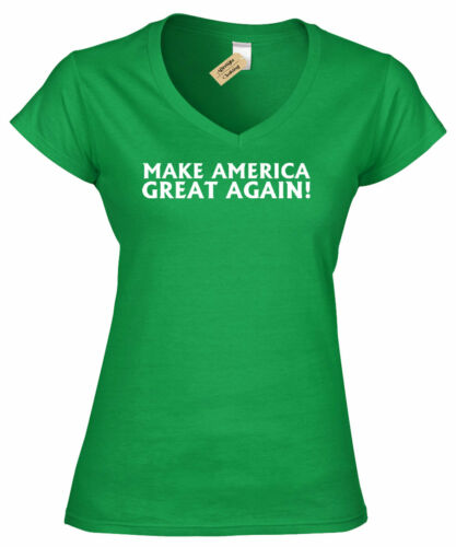 Make America Great Again Donald Trump President Ladies V-Neck T Shirt womens top