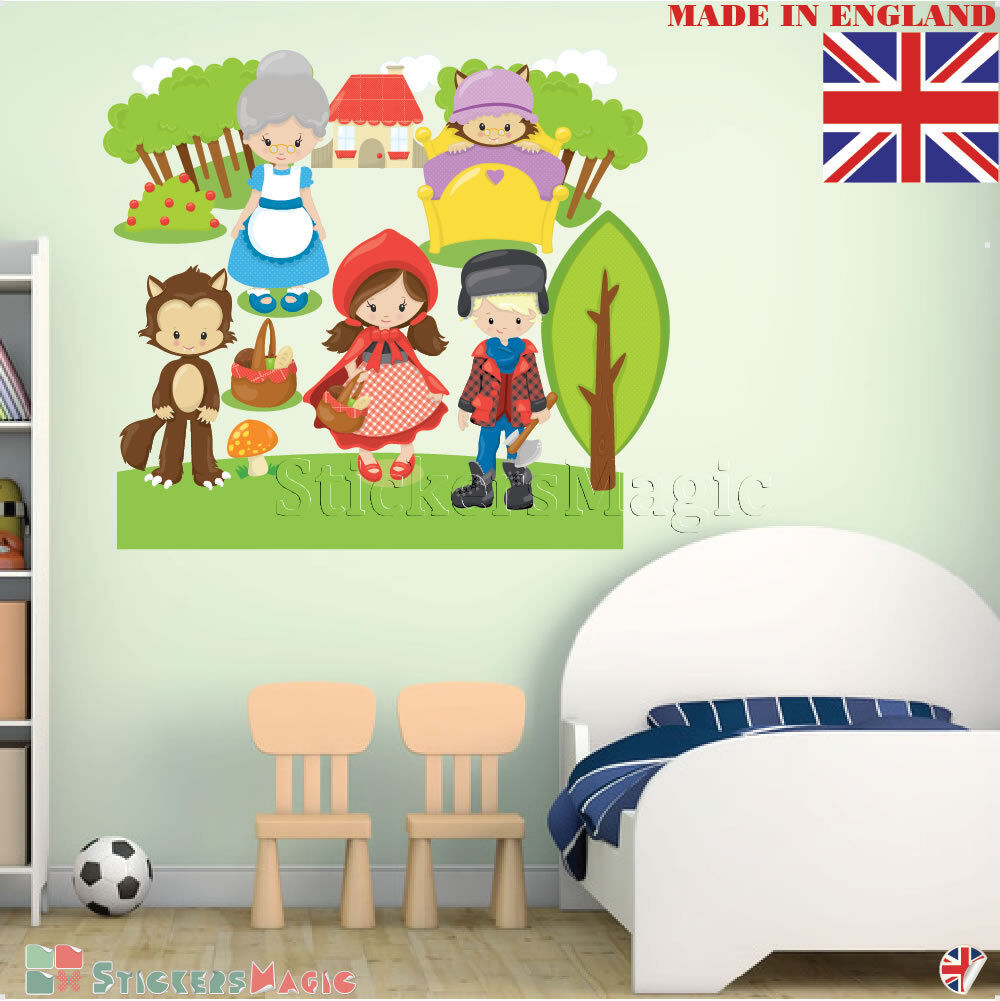 Wall Stickers for Girl Room Kids Nursery Bedroom Decals rot Riding Hood Decor