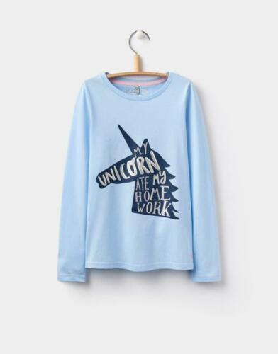 Joules Girls Bessie Sky Blue Unicorn ate my Homework Long Sleeve Tee 4-10yr NEW