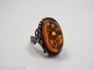 Sterling Silver Amber Oval Design Ring