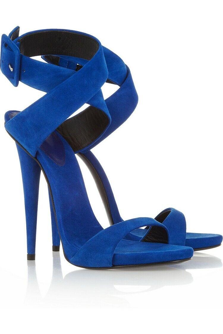 Femmes Evening Ankle Cross Strap Buckle Stiletto Open Toes Slingbacks talons hauts