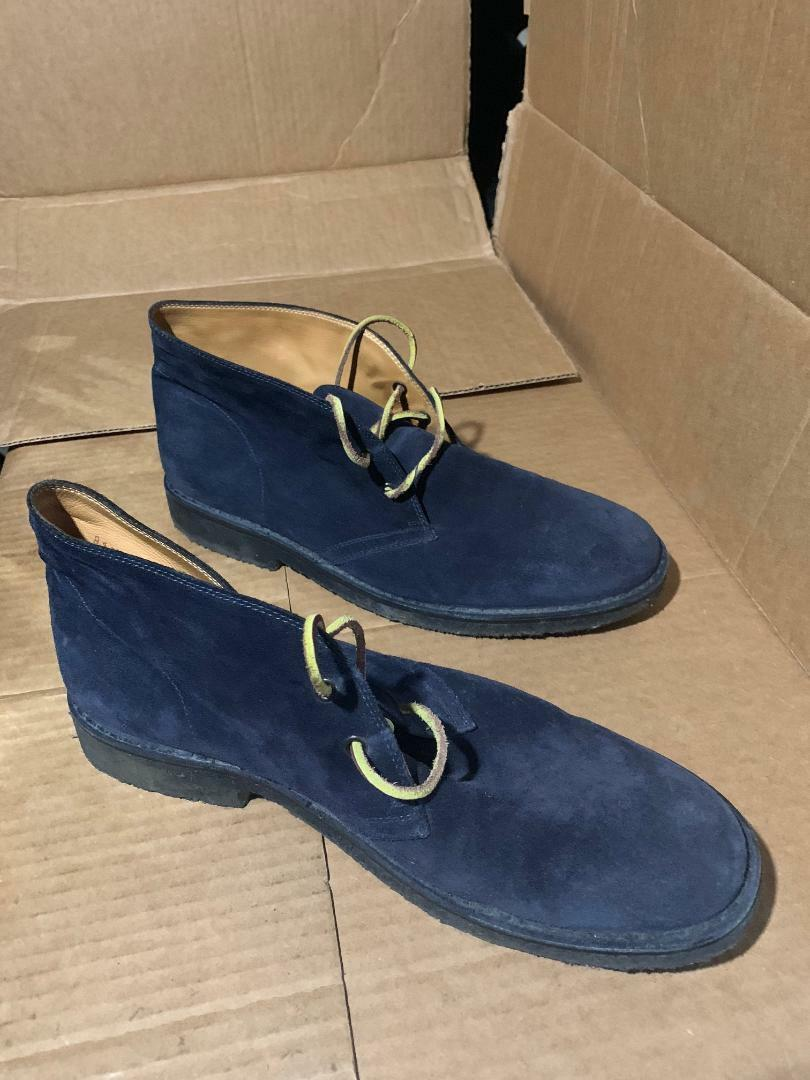 Ralph Lauren Kelby Made  Suede Chukka Boots shoes 11.5 Navy bluee