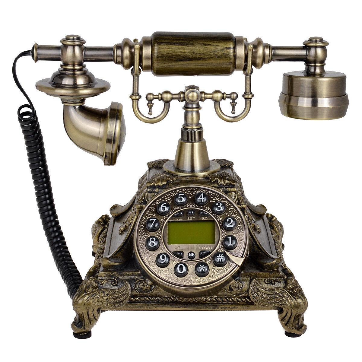 Bronze Retro Vintage Antique Telephone Rotary Dial Desk Phone Home Room Decor