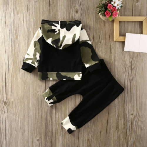 2PC Toddler Kids Baby Boys Camouflage Hooded Shirt Tops+Pants Outfits Clothes KA