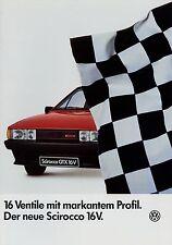 Prospekt VW Scirocco 16V 8/85 Autoprospekt Auto Pkw 1985 brochure Broschüre car