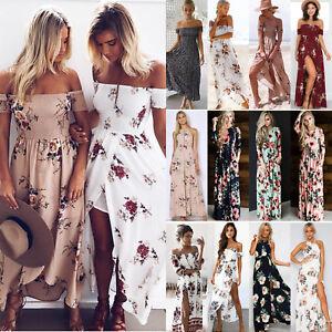 c14c8cdcc89 Chargement de l image en cours Femmes-Boho-Robe-Maxi-Longue-Vintage-Floral- Ete-