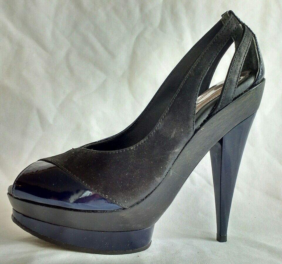 French Connection Womens Ladies Black Blue Leather High Heels Shoes Size 4/37