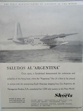 2/1946 PUB SHORT BROTHERS SUNDERLAND ARGENTINA SOUTH AMERICA LINE HYDRAVION AD