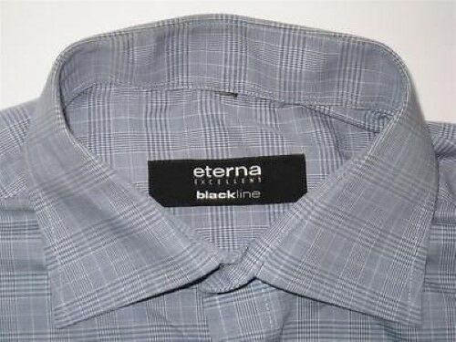 Te1918 ETERNA EXCELLENT Noirline manches chemise gris bleu blanc à carreaux manches Noirline longues 38 comme neuf f774cf