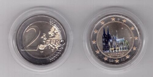 GERMANY COLORED BIMETAL 2 EURO UNC COIN 2011 YEAR WESTFALEN