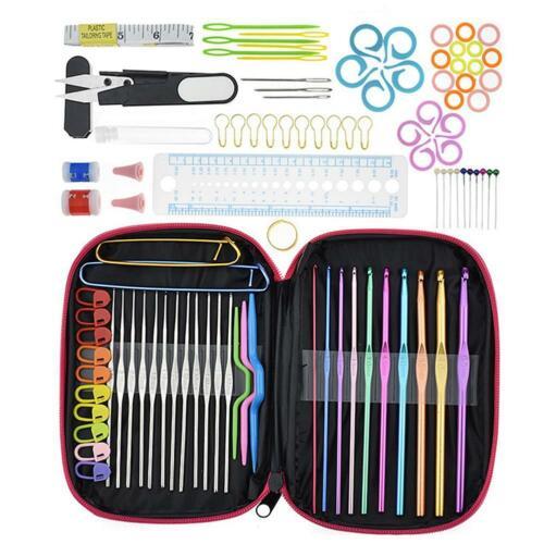 100pc DIY Aluminum Crochet Hooks Sweater Knit Weave Craft Sewing Needles Set US