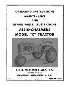 s l300 allis chalmers c operators parts maintenance manual ebay