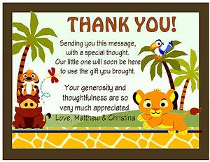 20 lion king baby simba baby shower thank you cards wenvelopes ebay image is loading 20 lion king baby simba baby shower thank filmwisefo