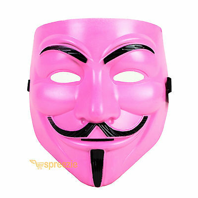Pink V For Vendetta Face Mask Guy Fawkes Halloween Party
