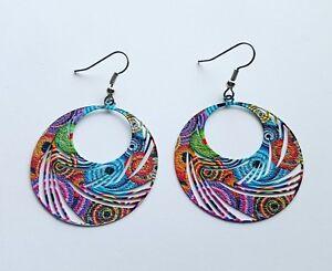 Statement-Earrings-bright-bold-dangle-drop-enameled-metal-multicolour-design-big
