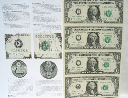 2009,4 US Bill $1 In One Uncut Sheet,Real $+Old One Cent US COIN 2=1+1 BIG SALE