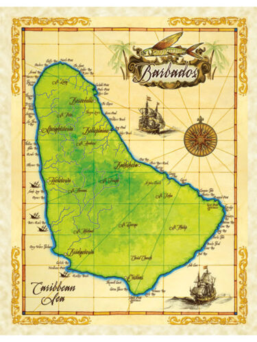 """19.5 x 25/"""" Barbados Vintage Look Map Poster Printed on Parchment Paper"""