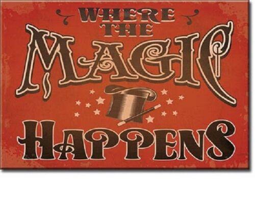 "Where the Magic Happens Miniature Sign 2/"" X 3/"" Magnet"