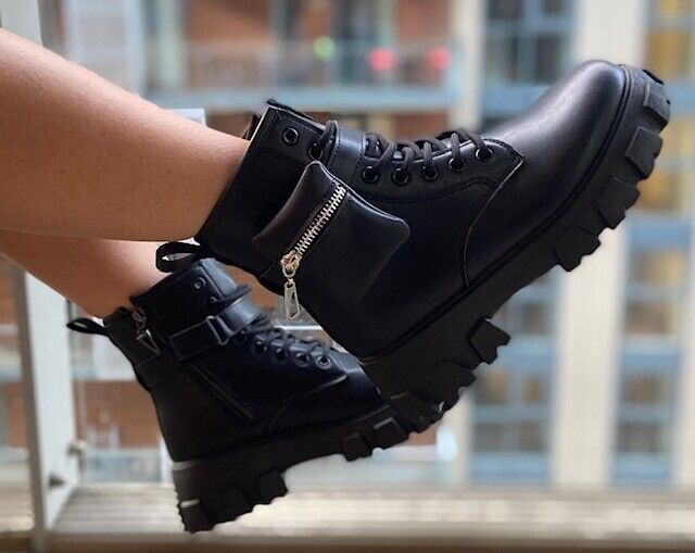 New Ladies ankle biker boots ,chunky sole and removable pouch
